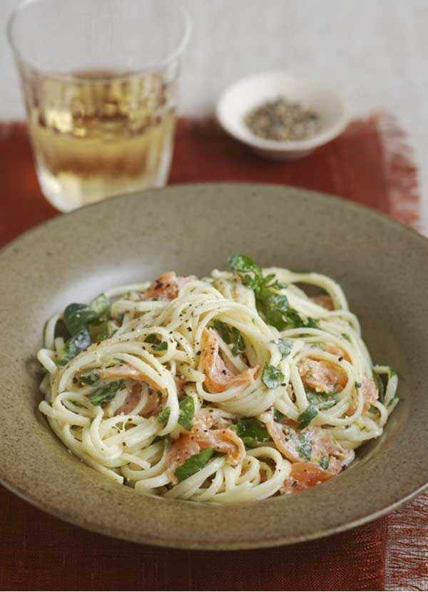Smoked Salmon Pasta Recipe with Watercress and Horseradish