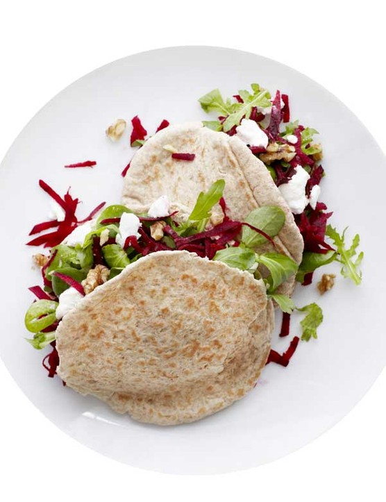 Pita Bread Recipe With Beetroot, Goat's Cheese and Walnuts