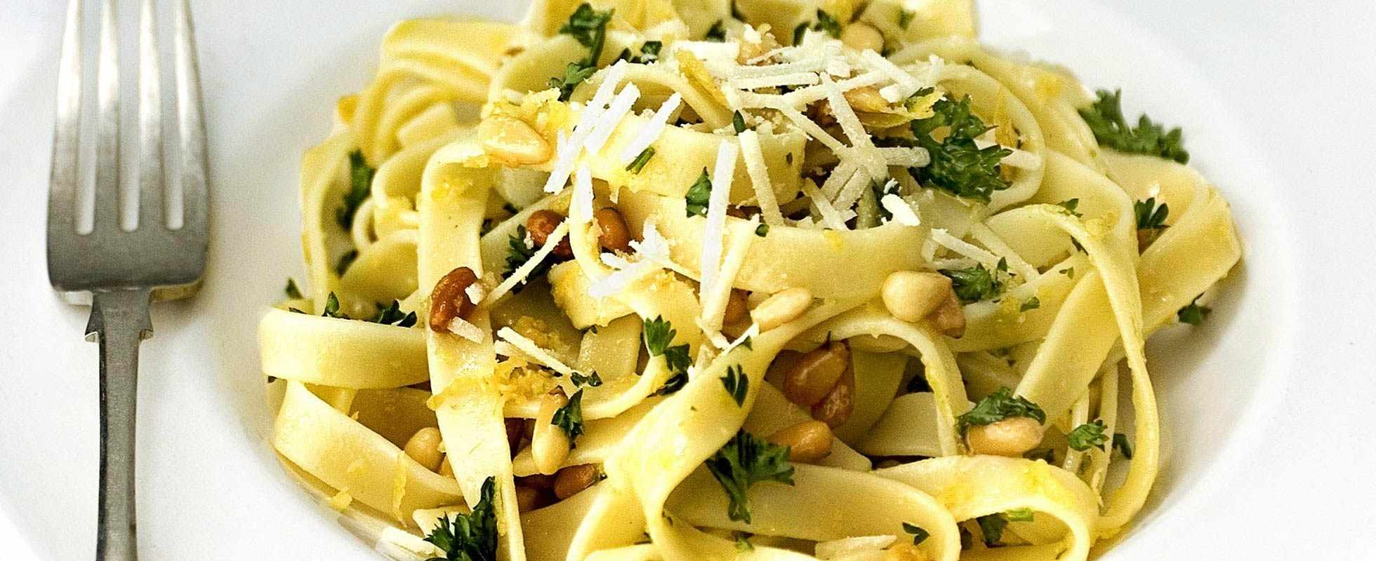 Tagliatelle with pecorino, lemon and pine nuts