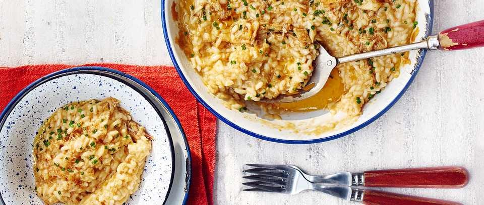Brown-buttered crab risotto