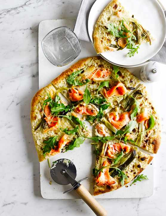 Pizza Bianca With Smoked Salmon And Spring Onions Recipe