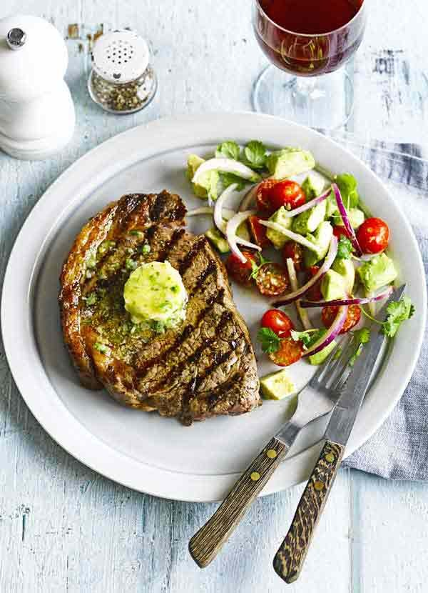 Chargrilled steak with Tabasco butter and avocado salad