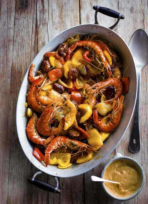 Spanish Prawns Recipe with Peppers and Aioli
