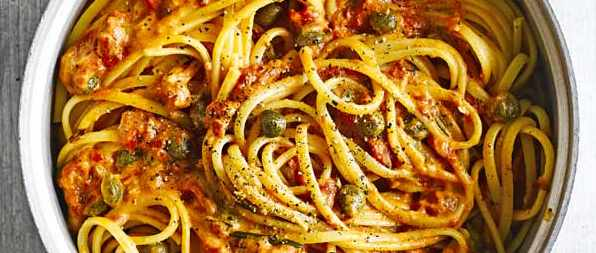 Linguine Recipe with Tomato, Rosemary and Caper Sauce