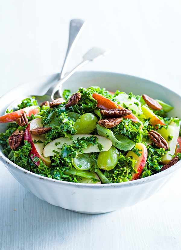 Kale Waldorf Salad Recipe with Buttermilk Dressing served in a large white bowl