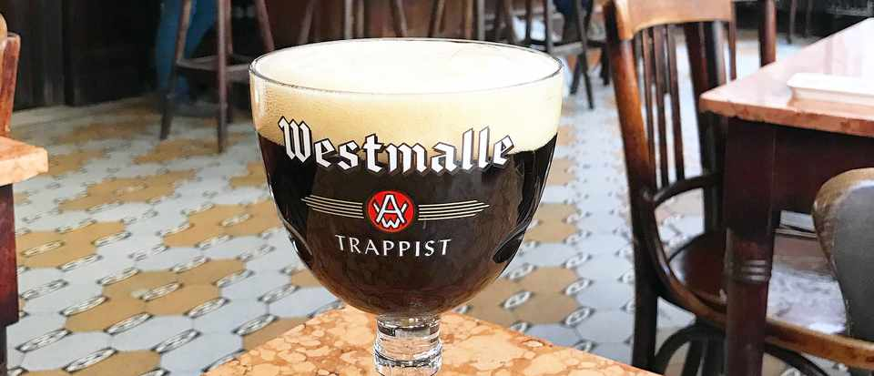 Goblet of Belgian Beer in a Belgian Cafe