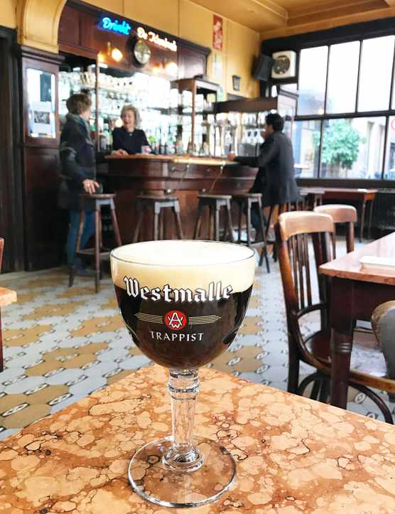 Goblet of Belgian Beer in a Belgian Cafe