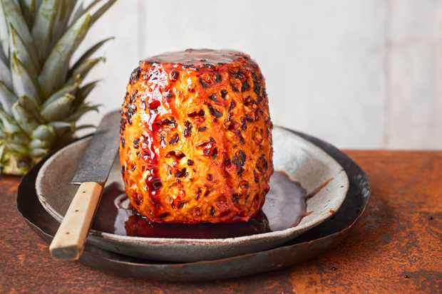 Baked Pineapple Recipe with Caramel Sauce