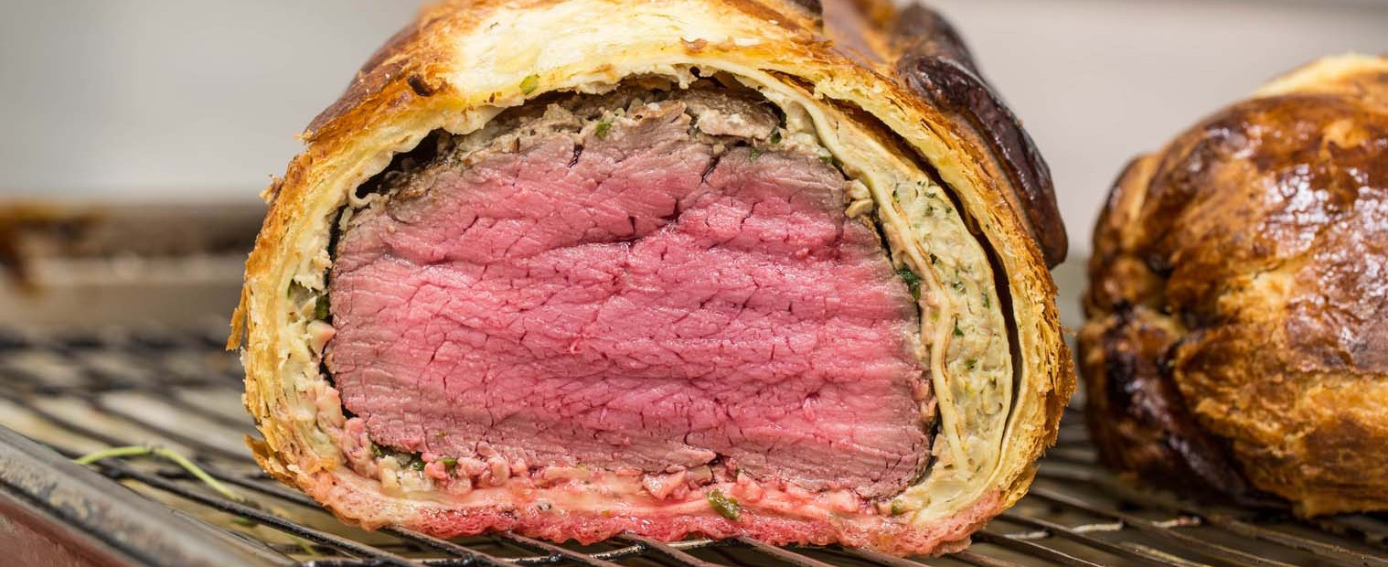 sliced beef wellington