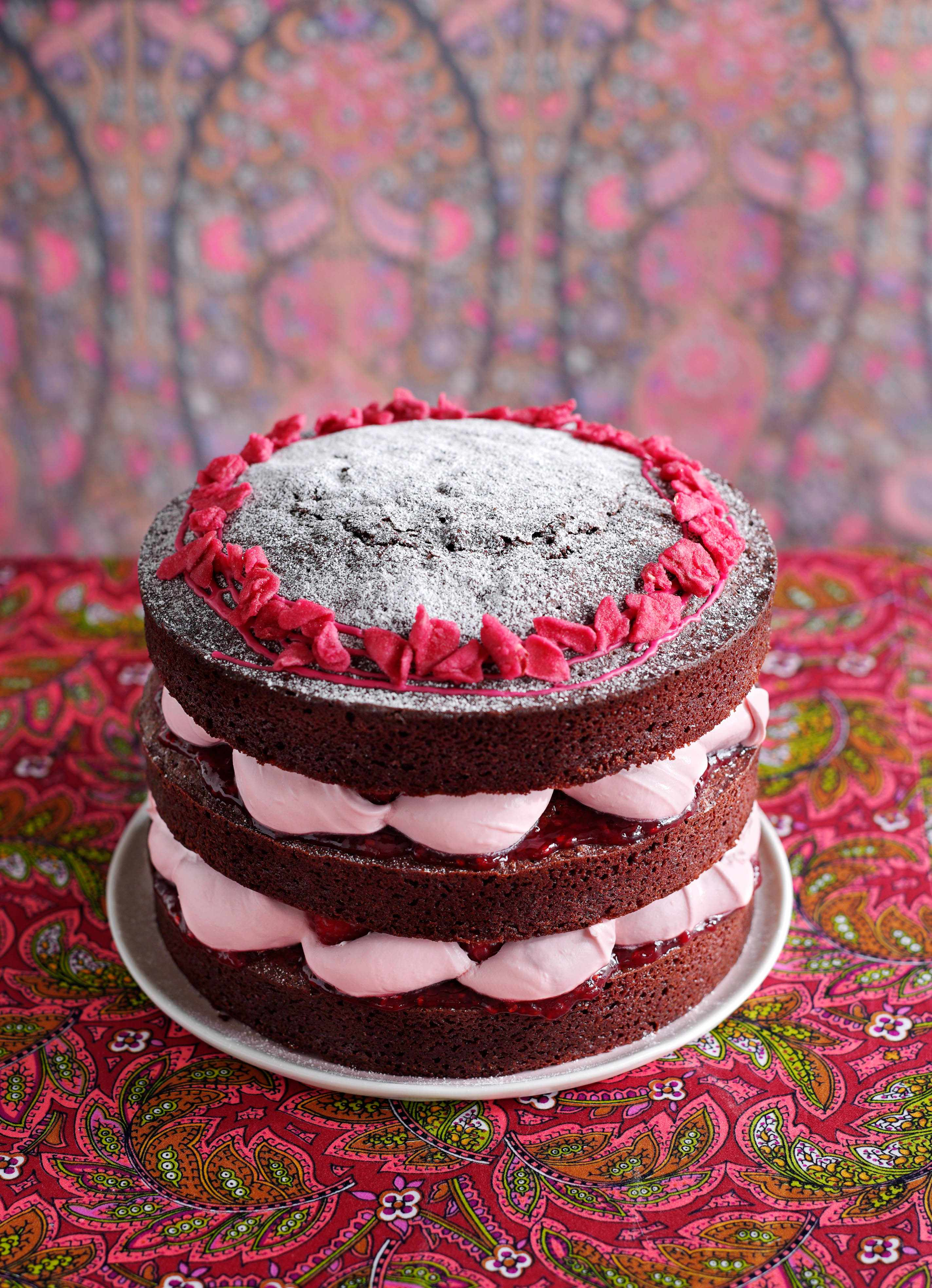Chocolate Rose Cake with Raspberries