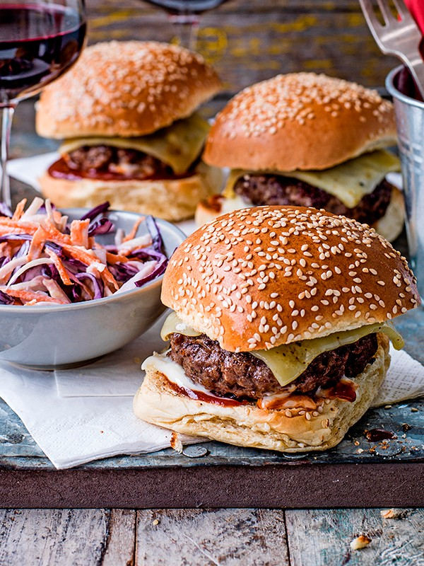 Burgers and slaw