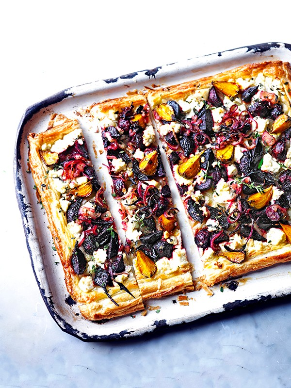Beetroot, feta and thyme tart