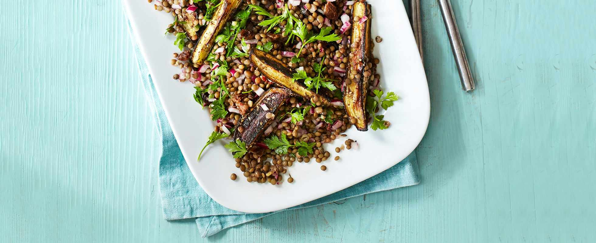 Za'atar roasted aubergine with Puy lentil salad