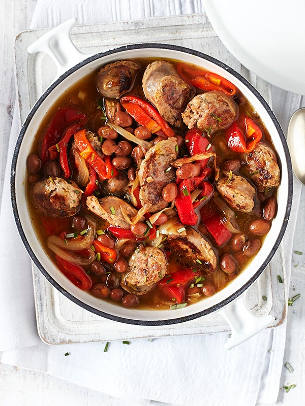 Italian sausages with peppers, borlotti beans and rosemary