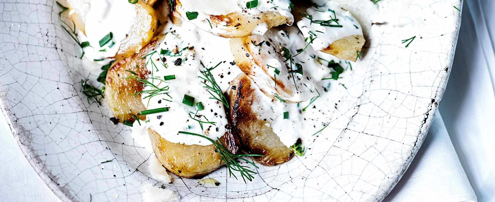 Roast kohlrabi with ranch dressing