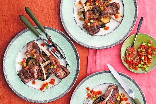 Lamb chops with aubergines and bloody mary salsa