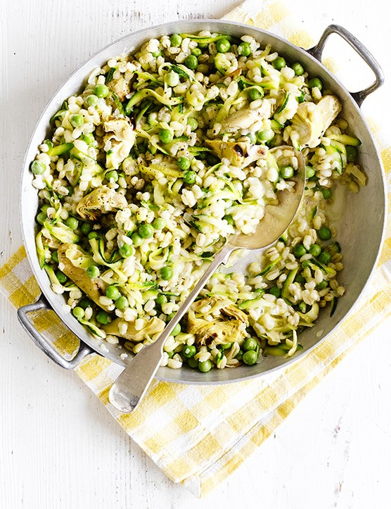 Courgette and Pea Risotto Recipe with Artichoke