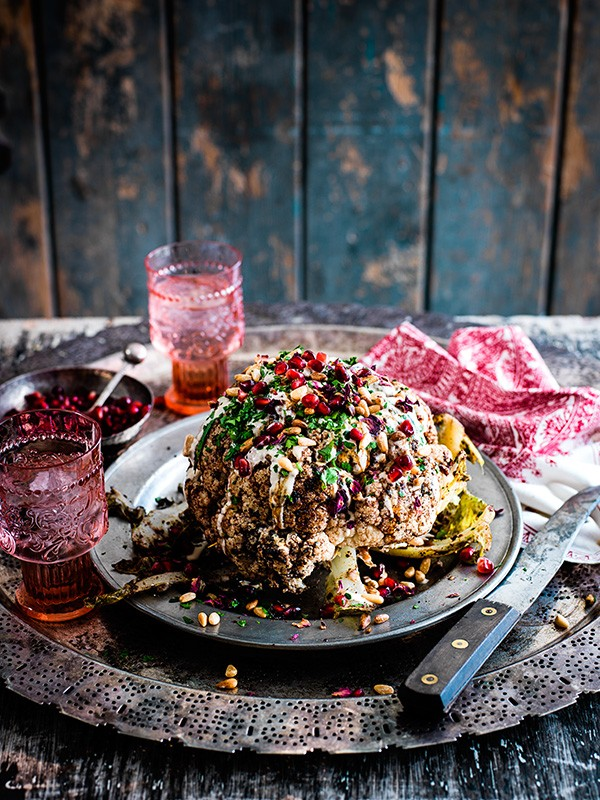 Cauliflower Shawarma Recipe With Pomegranate, Tahini and Pine Nuts