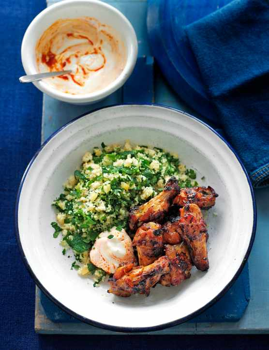 Moroccan wings with herb couscous