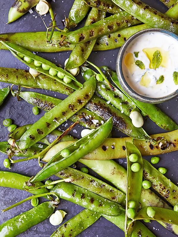 Pea and Bean Salad Recipe With Minted Yogurt Sauce