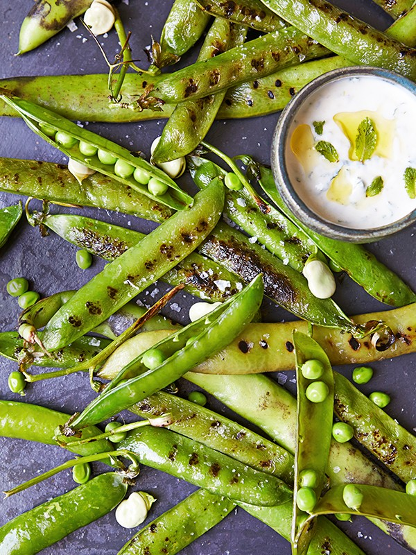 Pea and Bean Salad Recipe With Minted Yogurt Sauce