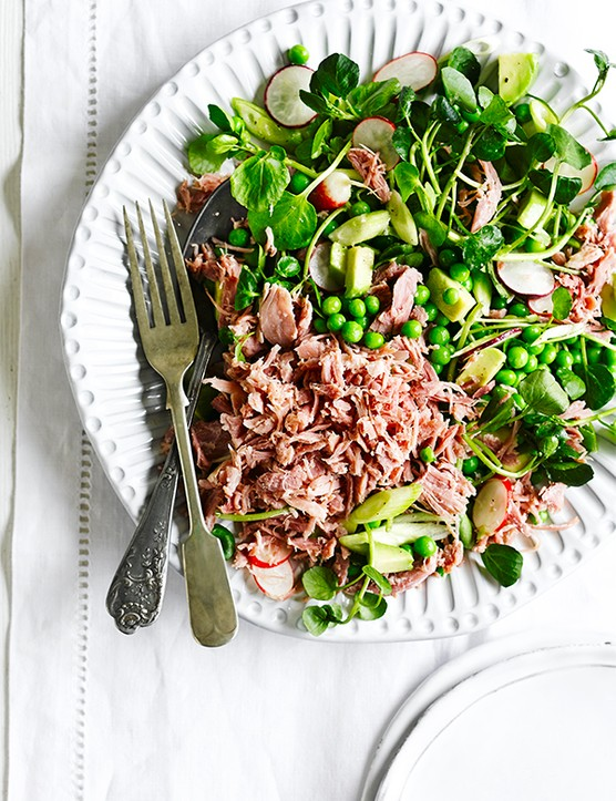 Ham hock, pea and spring onion salad