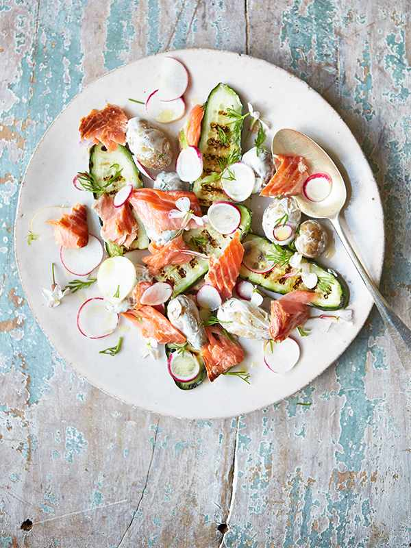 Smoked Trout Recipe With New Potatoes and Grilled Cucumber Salad