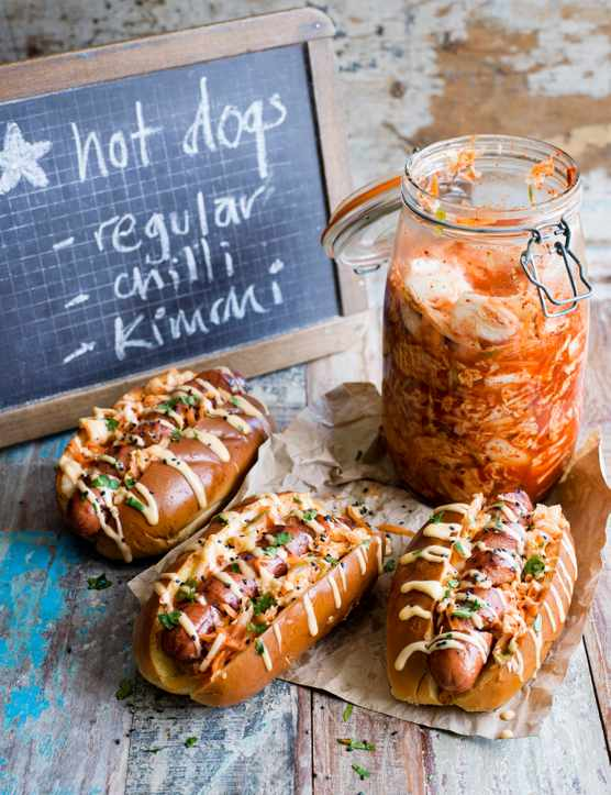 Kimchi hotdogs