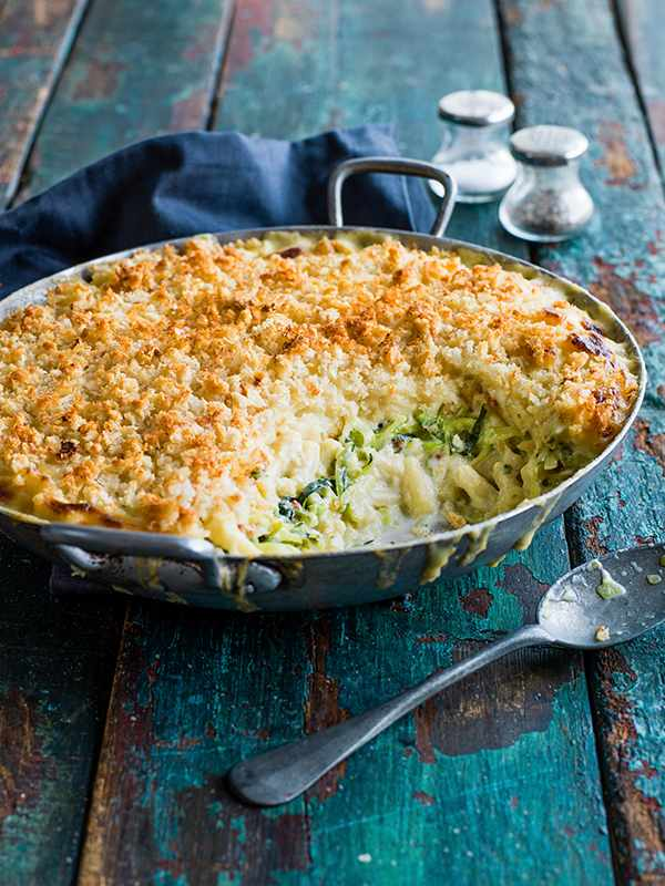 Mac And Cheese Recipe With Courgette and Garlic Sourdough Crumbs