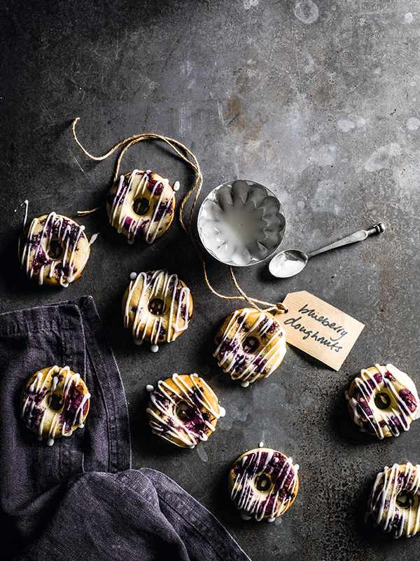Blueberry Donuts Recipe with Lemon Glaze