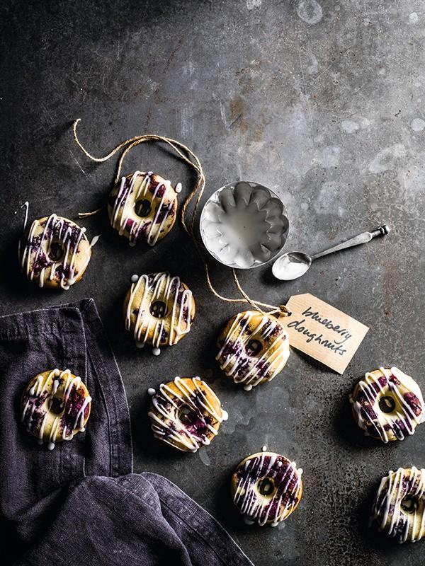 Blueberry Donuts Recipe with Lemon Glaze