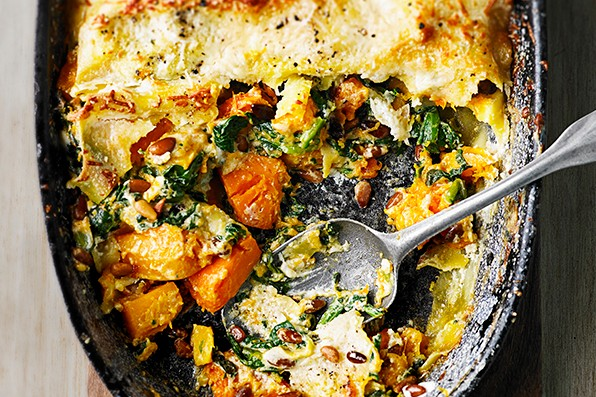 Butternut Squash, Lasagne Recipe With Spinach and Mascarpone
