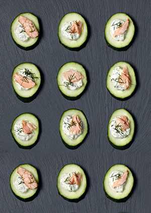 Cucumber Canapés Recipe with Salmon and Tartare Sauce Recipe