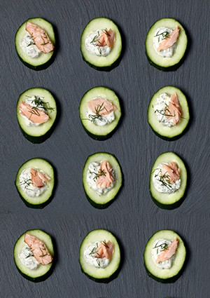 Cucumber Canapés Recipe with Salmon and Tartare Sauce Recipe