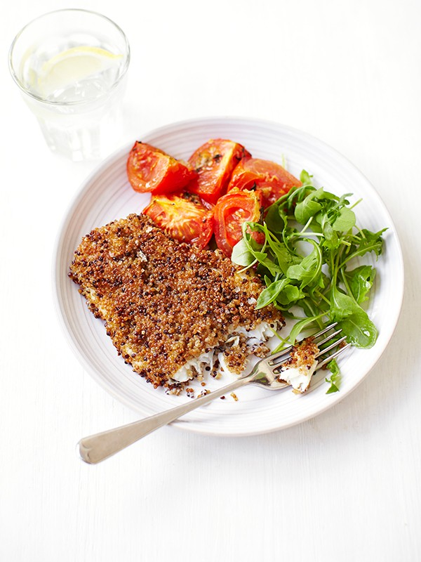 Quinoa Crusted Fish with Roasted Tomatoes Recipe