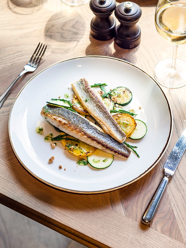 Sea Bass Fillet With Grilled Courgette, Lemon and Hazelnut