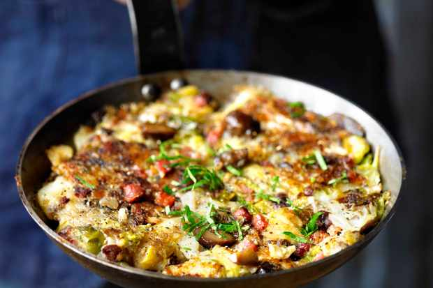 Posh bubble and squeak (with chestnuts)