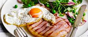Gammon and Eggs Recipe With Watercress and Pea Salad