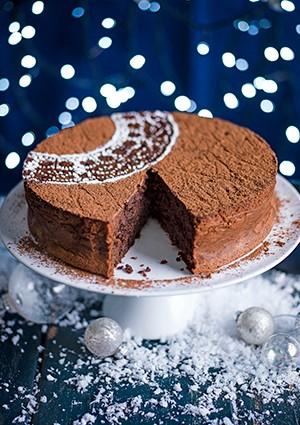Rum-Raisin Chocolate Torte Recipe with Crème Fraîche