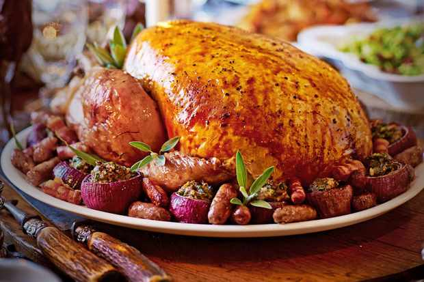 Bay and lemon turkey with buttery leek stuffing