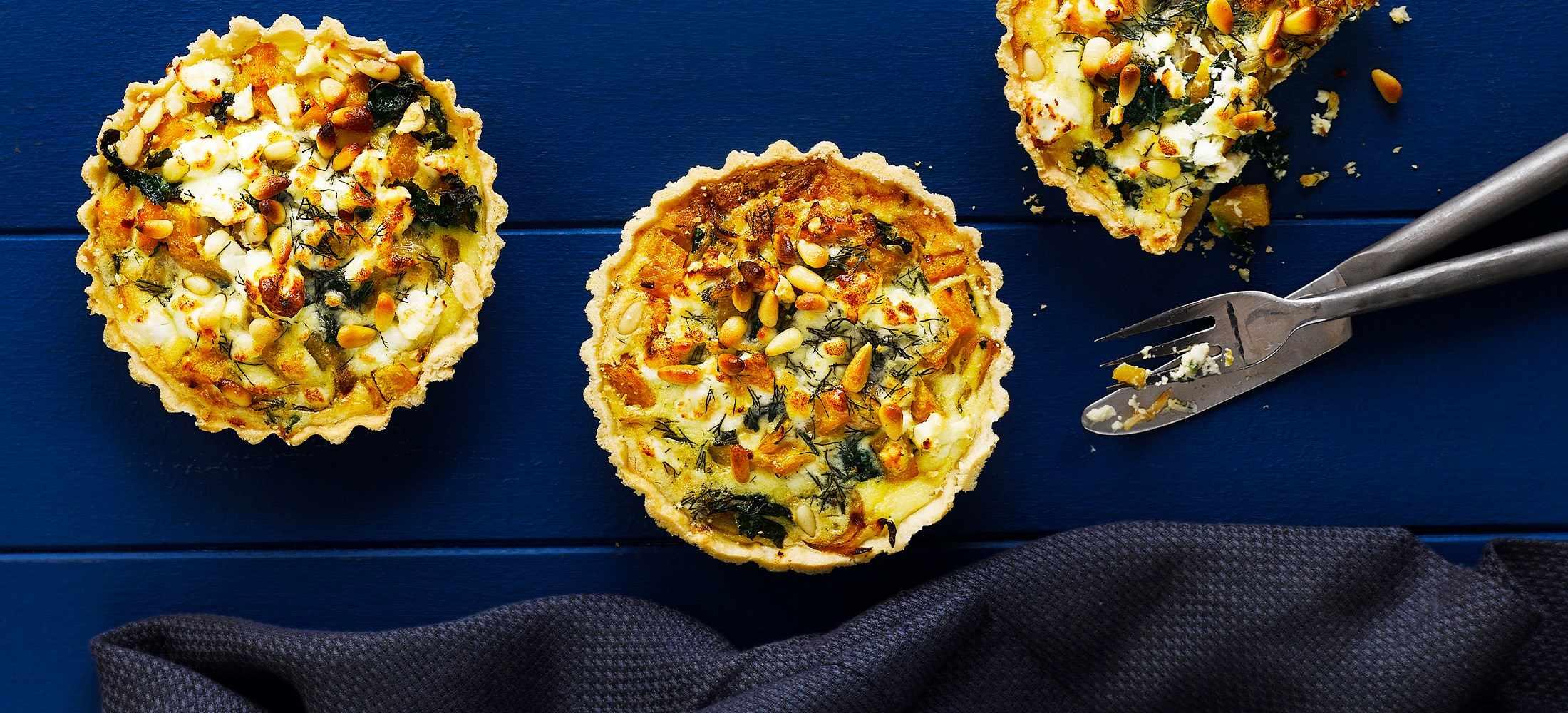 Squash, Kale and Caramelised Onion Tart Recipe With Feta