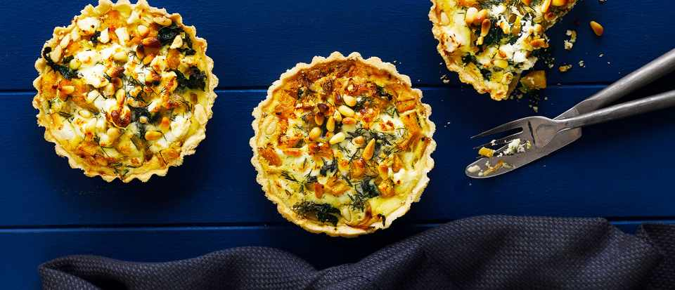 Squash, Kale and Caramelised Onion Tart Recipe With Feta