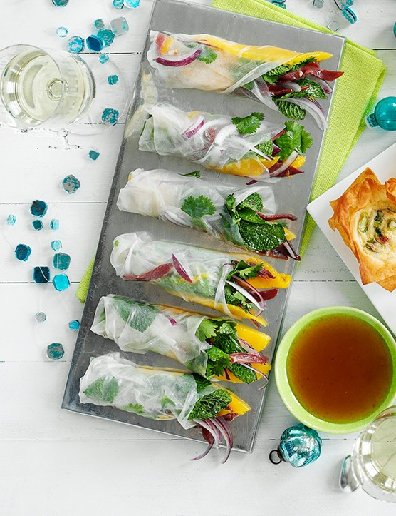 Duck Rice Paper Rolls Recipe with Mango