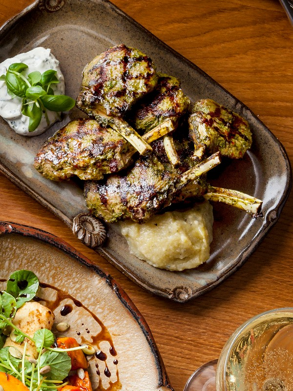 Spicy Lamb Cutlets Recipe with Smoked Aubergine