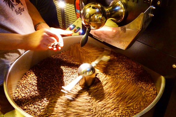 Roasting beans at Fabrica Coffee Lisbon