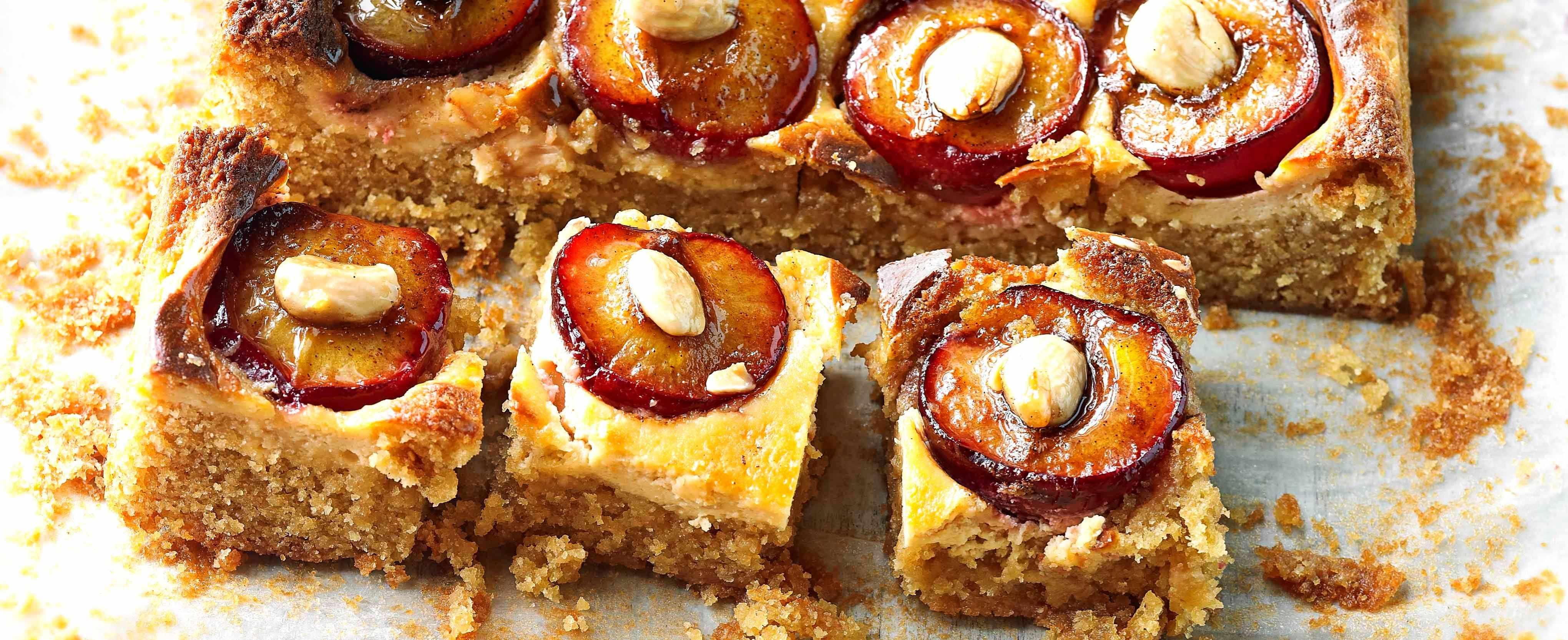 plum and almond sheet cake