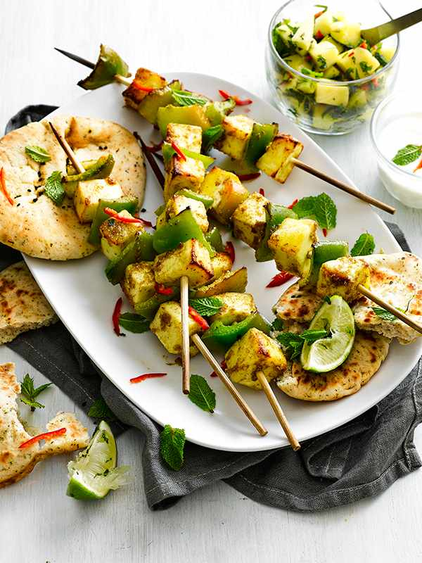 Spiced Paneer Skewers Recipe with Mango, Chilli and Mint Salsa