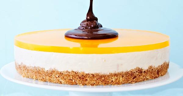 Orange Cheesecake Recipe With Dark Chocolate Sauce