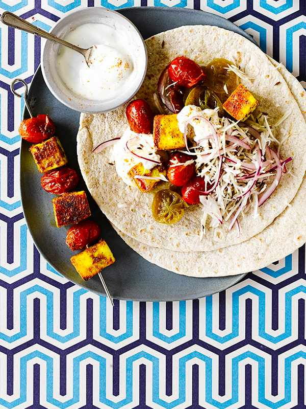 Spiced Paneer Recipe with Roti and Cabbage Salad