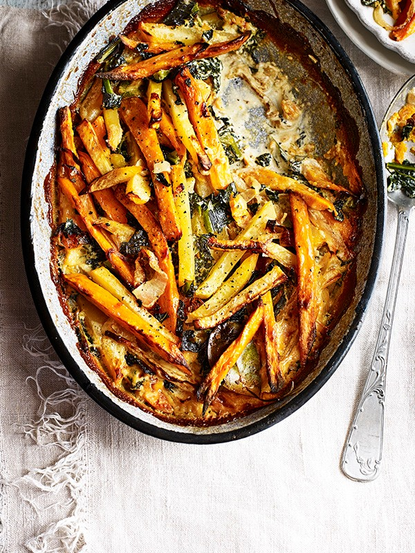 Swede, Kale And Sweet Potato Gratin Recipe